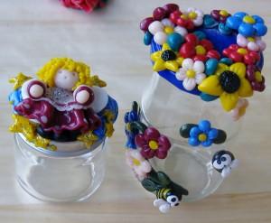 vasi decorati-idea regalo fatta a mano-fimo