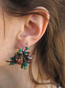 orecchini gufi - in fimo