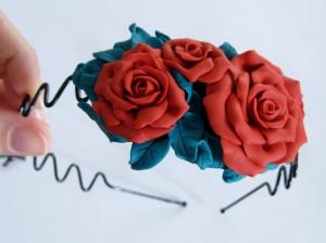 Cerchietto e orecchini fioriti - fimo- La bottega delle coccinelle