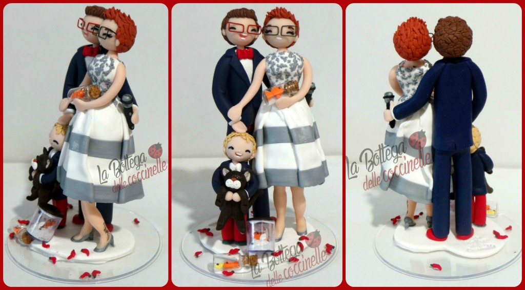decorazione per torta nuziale personalizzata fatta a mano in fimo - handmade