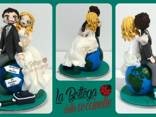 wedding cake topper tema viaggio