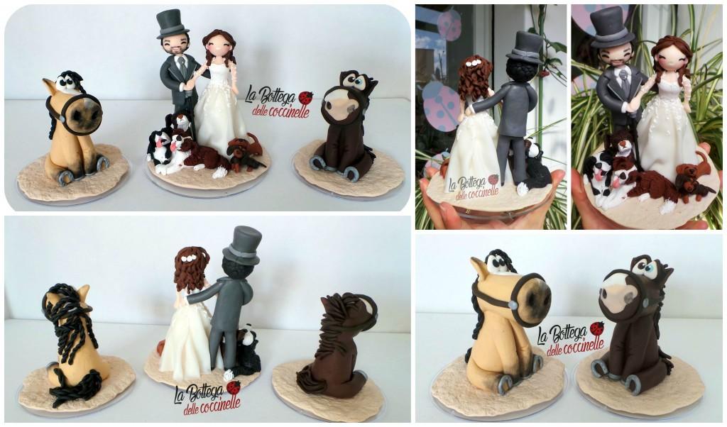 Cake topper personalizzato con cani, bassotti e cavalli