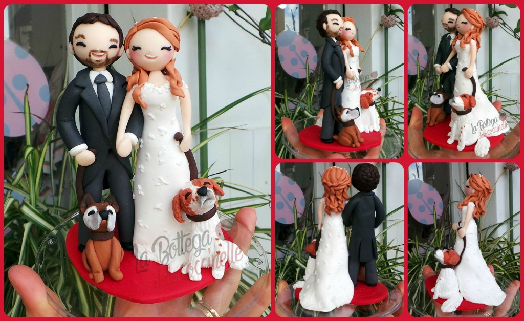 cake topper sposi con famiglia