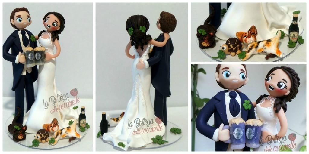 cake topper personalizzato, guinnes tartaruga e gatte