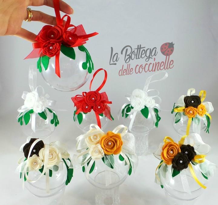 Palline per Albero di Natale con decorazioni fatte a mano