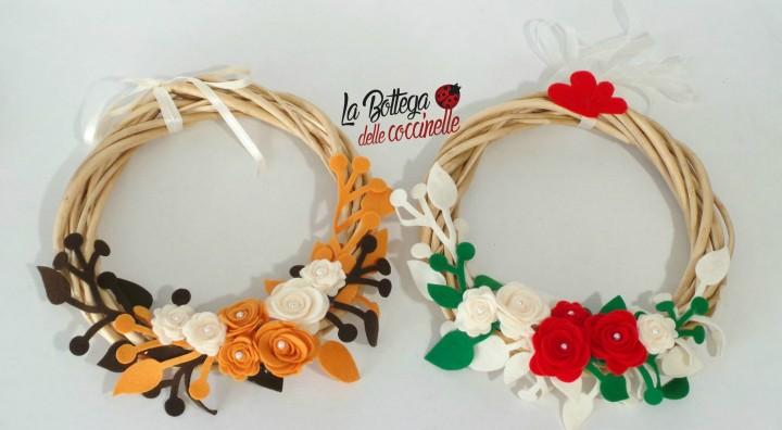 Ghirlanda 18 cm con decorazioni fatte a mano