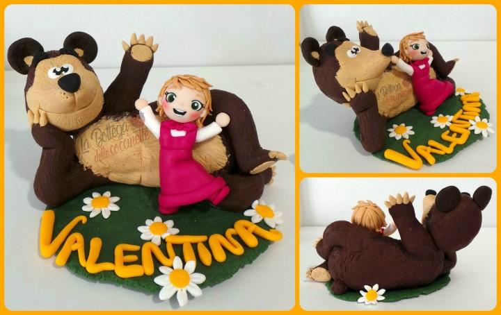 Mascha e orso -cake topper per bimbi - battesimo, compleanni- fatti a mano