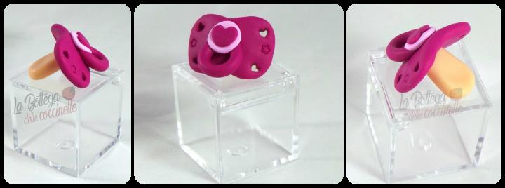 bomboniera ciuccio su scatolina in plexiglass