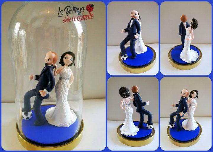 Laura & Davide passione calcio ahahahah topper 17 cm con campana base 15 cm x 27 cm altezza