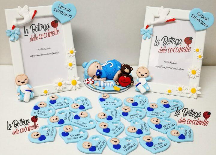 -cake topper -Bomboniera cornice Portafoto -cuoricino con VISINO, nome e data GRANDE (6x5 cm, circa): calamita #labottegadellecoccinelle #battesimo