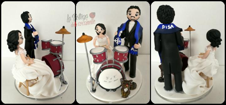 cake topper con strumenti musicali - la batteria