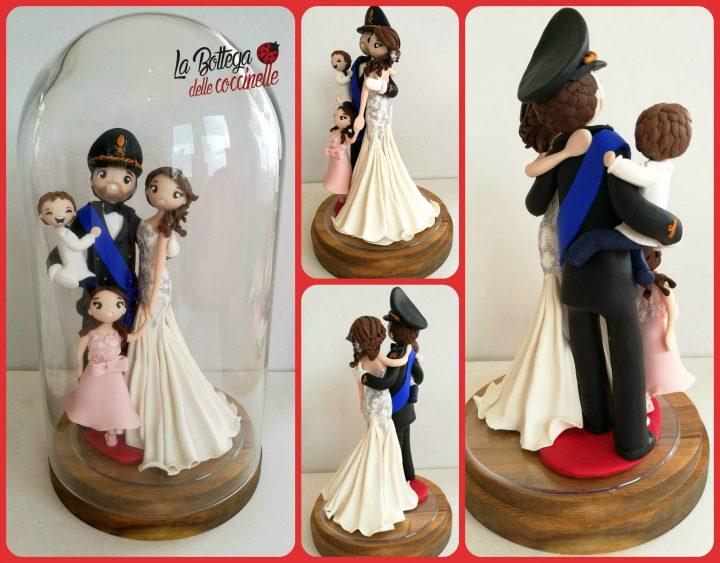 cake topper sposi, con divisa militare, fatti a mano