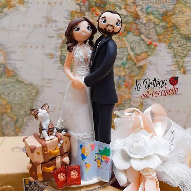 Cake topper sposi, personalizzato, realizzato in fimo, a mano